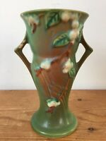 Vintage 1940s Roseville Art Pottery USA V-6 Green Winterberry Handled Vase 6""