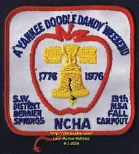 LMH PATCH Badge 1976 YANKEE DOODLE Campout  NCHA Campers Hikers MSA LIBERTY Bell