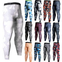 Mens Compression Pants Workout Sports Gym Long Tights Spandex Camo Print Dri-fit