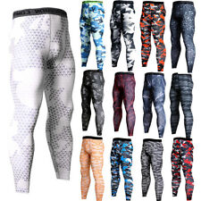 Mens Compression Pants Workout Sports Gym Long Tights Spandex Camo Print Dri-fit