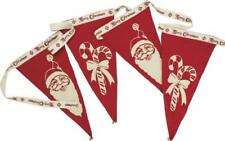 Vintage Retro Style Christmas Pennant Banner Garland - Santa Claus & Candy Canes