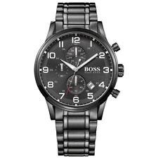 NEW HUGO BOSS MENS AEROLINER BLACK CHRONOGRAPH WATCH - 1513180 - RRP £399