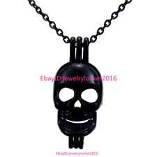 """-H60 Black Skull Pearl Beads Cage Locket Necklace 18"""" Steel Chain for Punk Party"""