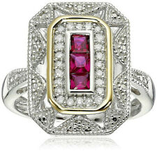 Silver and 14k Gold Ruby and Diamond Art Deco Ring Wedding Jewelry Size 6
