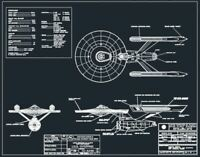 UNIQUE AND RARE STAR TREK ENTERPRISE BLUEPRINTS CAD AND PDF DRAWING POSTER.