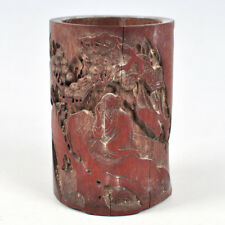 Chinese Bamboo Carving Landscape Figure Brush pot Statue