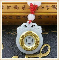 Fine 3D 24K Yellow Gold &Hetian Jade Pendant Miss Old Safety Button Women's