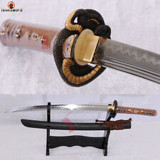 Folded Steel Clay Full Tang Wakizashi Japanese Samurai Sword Blade Razor Sharp