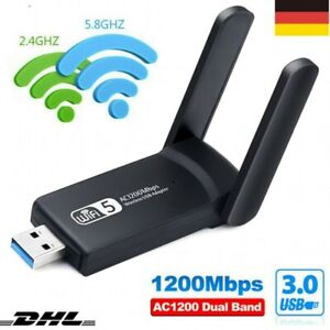 1200M WIFI Adapter WLAN USB 3.0 Stick 2,4/5GHz Dual Band Antenne Dongle für PC