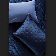 New Anthropologie Velvet Cross Stitched King Sham  Blue