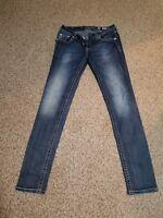 MISS ME Denim Women's Rhinestone Stretchable Signature Rise Skinny Jeans Size 29