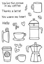 """#77031 Clear Stamp 4""""x6"""": Coffee Time! Thanks a Latte Hello Love Jane's Doodles"""