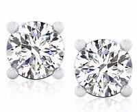 1.00 Ct Ebay Diamond Stud Earrings Solid 14K Hallmarked White Gold Round 701