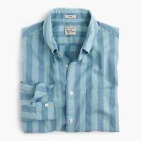 New J.Crew Secret Wash Slim Striped Shirt Long Sleeve Button Up Blue Poplin NWT