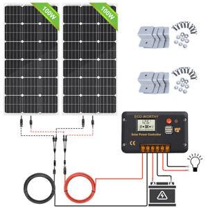 200W 2*100W 12V/24V Solar Panel Kit & 30A Controller for Car Caravan RV Camping