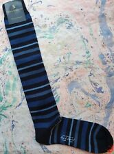 New & Lingwood Mens Medium Wool Long Length Socks Italian Multi Stripe Navy Blue