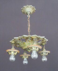 Antique/Vintage Polychrome 4-Light Chandelier **Rewired** Art Nouveau/Deco FX281