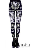 Restyle Sphynx Leggings Black Gothic Cat Bastet Occult Trousers Goth Punk Pants