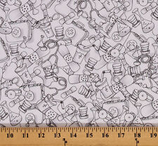 Cotton Med Stuff Medical Equipment Nurse Doctor Cotton Fabric Print BTY D503.10