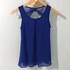 Sally Miller Couture Girls Top Blue Sleeveless Sheer Size Medium