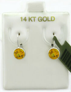 GEMSTONES 0.36 Cts YELLOW TOPAZ EARRINGS 14K GOLD * New With Tag * LEVER BACKS