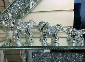 SILVER SET OF ELEPHANTS SPARKLE BLING ORNAMENT CRUSHED DIAMONDS
