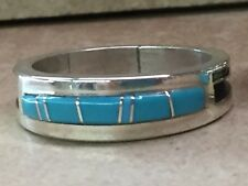 Native American Navajo Men's Sterling Wedding Band Turquoise Muskett 14