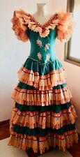 Bust 108 cm: Vintage Authentic Flamenco Gypsy Dress Frida Kahlo Feria Gitana