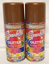 2 x 200ml GOLD Glitter Spray Paint , Hobby Crafts Decorations Christmas Etc