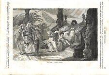 Ancien Testament Moïse enfant Cour de Pharaon Serpent Bible Israël GRAVURE 1864