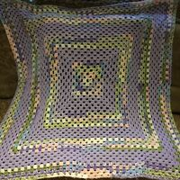 Handmade Crochet Afghan Lap Blanket Baby Purple Pink White 42x 44