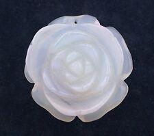 140.50 Carat Carved Light Gray Blue Agate Rose Carving Gemstone Gem Stone EC15