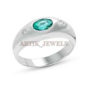 Natürlicher Smaragd Edelstein Mit 925 Sterlingsilber Ring für Herren AJ740