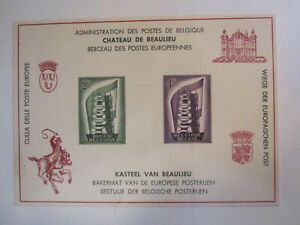 Belgium 1956 Europa stamps stuck down on illustrated card