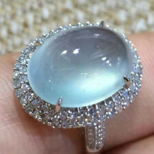 Simple White Gold Filled Moonstone Ring Women Wedding Bridal Jewelry Gift Sz6-10