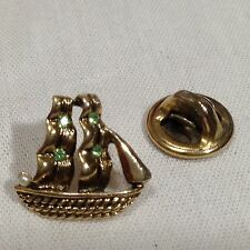 Sailboat Yacht Ship 1/2 Inch Pin Brooch Tie Tack 4 Green Stones 1 Faux Pearl