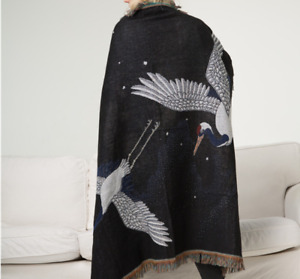 Fashion Black Crane Tapestry Blanket Retro Blanket Animal Decorative Blanket