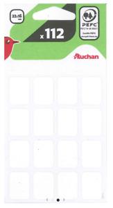 7 planches de 16 étiquettes blanches 22x16mm P/objets ou documents Ecriture NEUF