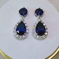 Women AA Sim Ceylon Sapphire White Gold GF Drop Dangle Hoop Earrings, GIFT BOXD