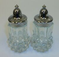 Diamond Point Clear Glass Salt and Pepper Shakers with Chrome Lids EUC