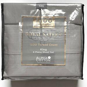 "Royal Sateen Gray KING 1200 Thread Luxury Bedding Sheet Set 15"" Pocket GREY"