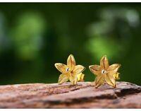 925 Sterling Silver Handmade Fine Jewelry Wintersweet Flower Stud Earrings Gift