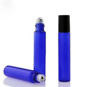 10ml Cobalt Blue Roll on Glass Bottles Essential Oil Metal Roller Ball UK