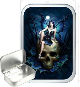 Blue Fairy Skull Gift Box,150ml Silver Hinged Tin, Tobacco , Storage Tin, Craft