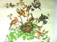 Vintage 1983 Fabric Linen Cloth Wall Hanging Calendar Birds Nest Kitchen Wall