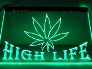 LED Sign Marijuana Leaf Weed Cannabis Hemp Neon 420 High Life Rasta Light Up Man