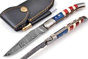 Damascus Steel AMERICAN/TEXAS FLAG French Laguiole Pocket Folding Knife; 287(4)