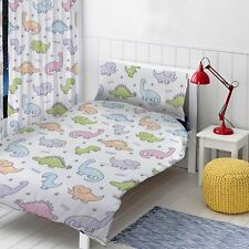 DINOSAURS SINGLE DUVET COVER SET GIRLS BOYS - T-REX, TRICERATOPS, BRONTOSAURUS
