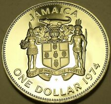 Rare Cameo Proof Jamaica 1974 Dollar~Only 22,000 Minted~Fantastic~Free Shipping