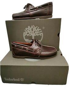 Timberland Classic 2 Eye Dark Brown Leather Cedar Men's Boat Shoes RRP £110